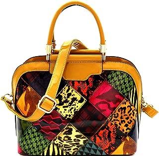 Leopard Snake Print Patchwork Vegan Patent Leather Compartment Dome Satchel Bag