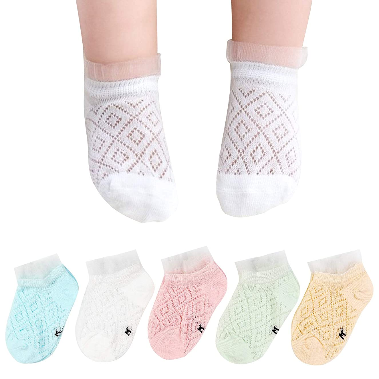 BOOPH 5 Pair Newborn Baby Non Skid Crew Sock Pastel Solid Color Multipack For Baby Toddler Girls 1 Months -8 Years Old