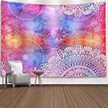 TEHOOK Indian Bohemian Psychedelic Peacock Mandala Tapestry Wall Hanging, Tapestry Dorm Decor for Living Room Bedroom (Col...