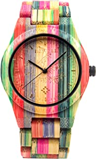 Bewell 105DG Colorful Bamboo Wristwatch for Men, Lightweight Quartz Analog Casual Wooden Watches Type 1