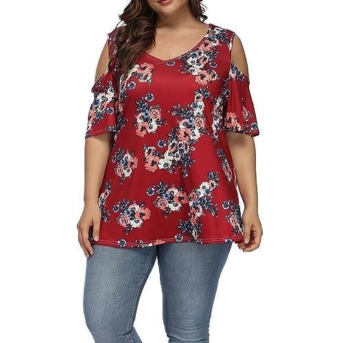 6fbaf959001b2 Allegrace Women s Plus Size Floral Printing Cold Shoulder Tunic Top Short  Sleeve V Neck T Shirts