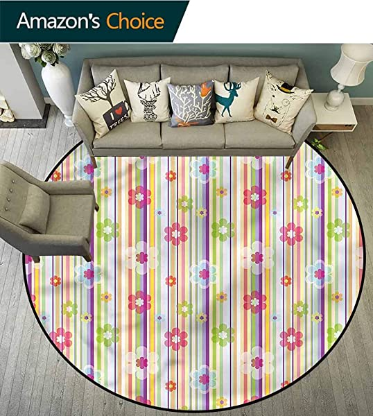 RUGSMAT Floral Modern Round Abstract Area Rug Pastel Toned Flower Colorful Non Skid Bath Mat Living Room Bedroom Carpet Diameter 35