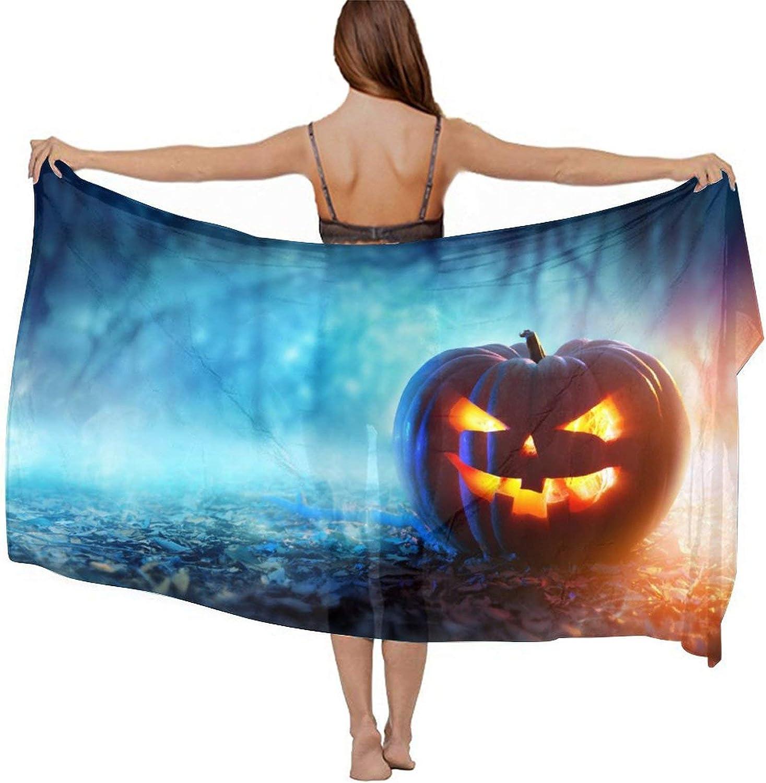 SWEET TANG Women Short Sarongs Bikini Wraps Chiffon Cover Ups Beach Soft Wraps for Cruises, Pool, Lake, Happy Halloween Pumpkin