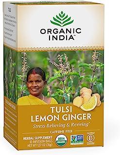 Organic India Tulsi Lemon Ginger Herbal Tea - Stress Relieving & Reviving, Immune Support, Aids Digestion, Vegan, USDA Cer...