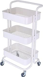 3-Tier Metal Mesh Storage Rolling Cart with Utility Handle, Indoor or Outdoor Storage Organizer, Cream White