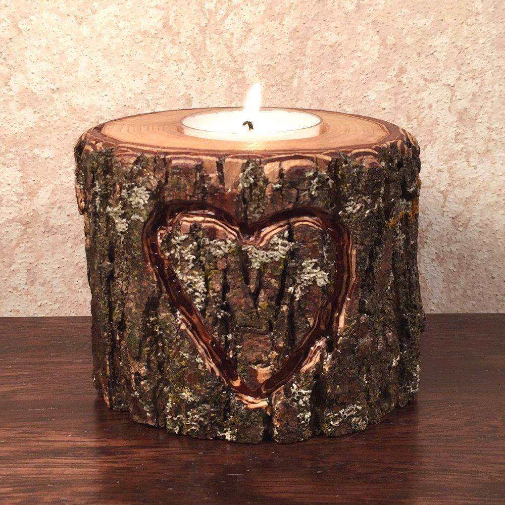 Hand Over item handling Carved 2021 Heart Wood Holder Candle Tea Light