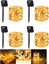 4 Pack Solar String Lights, 200 LED Outdoor Copper Wire Light String Lighting, Waterproof Starry Decoration Lamp for Patio, Garden, Party, Wedding, Holiday, Festival, Gate, Yard (Warm White)