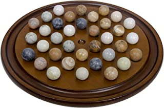 Arolly Wooden Handmade Solitaire Game Set Marbles & Mahogany Finish