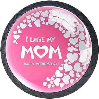 Boutons de tiroir Poignées d'armoire rondes Pull pour bureau à domicile cuisine commode armoire décorer,Fête des mères