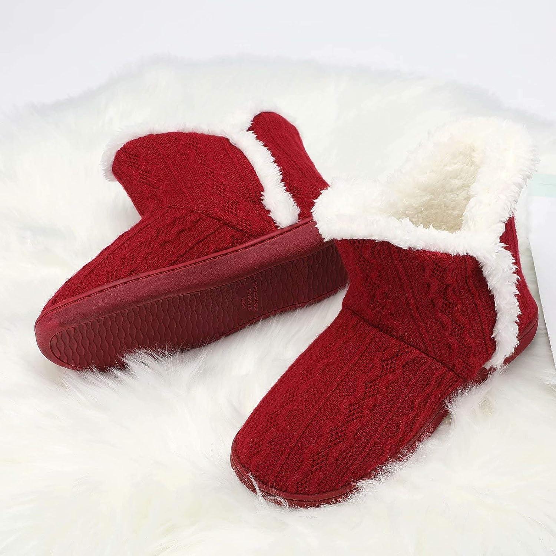 TUOBUQU Women Boot Slippers Fluffy Plush Indoor Outdoor Winter Bootie Slippers