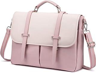 Laptop Bag for Women 15.6 Inch Leather Computer Bag Waterproof Briefcase Messenger Bag for Work College, Pink-Beige