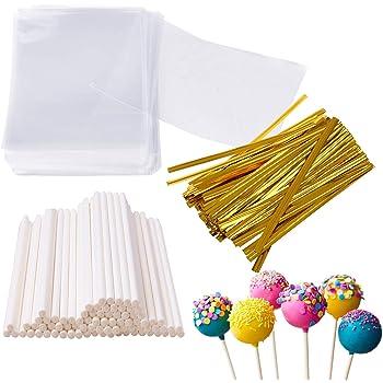 Augshy 300 Pcs Set Including 100 Pack Lollipop Treat Sticks,100 Pieces of Lollipop Parcel Bags and 100 Pieces of Wire Lines