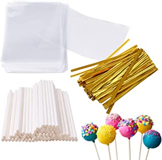 Augshy 300 Pcs Set Including 100 Pack Lollipop Treat Sticks,100 Pieces of Lollipop Parcel Bags and 100 Pieces of Wire Lines