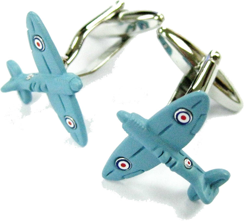 Williams & Clark Mens Executive Cufflinks Transportation Collection WW II Blue Spitfire British Airplane Cuff Links