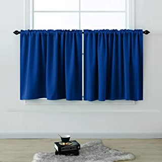 KOUFALL Short Curtains 36 Inches Long for Bathroom Set of 2 Panels Cafe Tier Curtains Blackout Room Darkening Rod Pocket Blue Curtains 36 Inch Length for Small Windows Kitchen Royal Blue 52x36