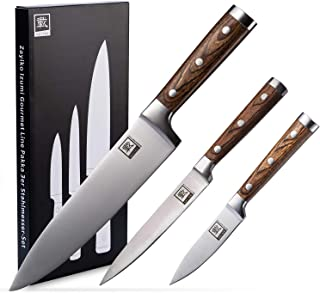 Zayiko 3-pc Knife Set - Blade length of 3.5-inch to 7.9-inch, sharp kitchen knife, professional chef's knives made of Germ...