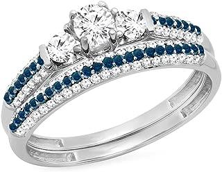 10K Gold Round White Sapphire,Blue & White Diamond Ladies 3 Stone Bridal Engagement Ring Set