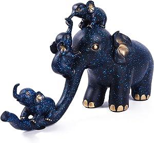 RahTune Elephant Statue, Elephant Figurines, Elephant Home Decor, Decorations for Home (Blue)