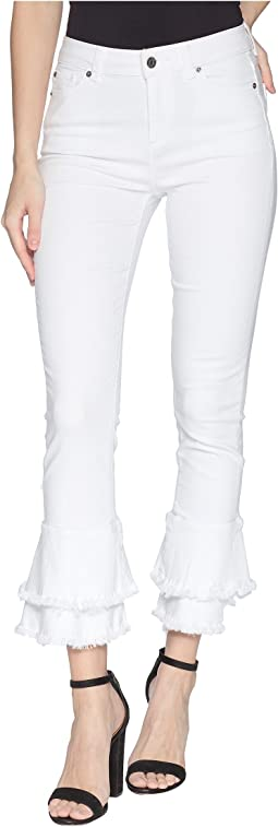 Five-Pocket Ruffle Frayed Hem Skinny Jeans in Ultra White