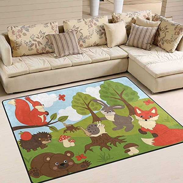 ALAZA Funny Forest Fox Rabbit Bear Hedgehog Snail Squirrel Area Rug Rugs For Living Room Bedroom 5 3 X4