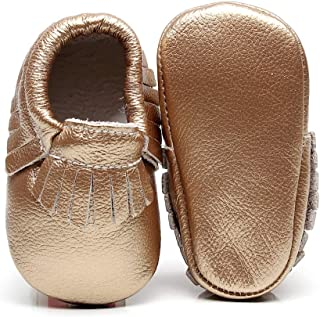 Baby Moccasins with Gold Bow Tassel First Walker Toddler Genuine Leather Shoes for Boys Girls