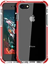 MATEPROX Funda para iPhone 8 Funda para iPhone 7 Funda para iPhone SE 2020 Protección de Claro PC Back Soft Goma TPU Parachoques Anti-rasguños a Prueba de Golpes para iPhone 7/8/SE 2020-Rojo
