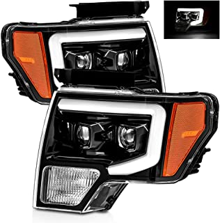 AlphaRex Polished Black For 09-14 Ford F150 DRL LED Tube Dual Projector Headlights