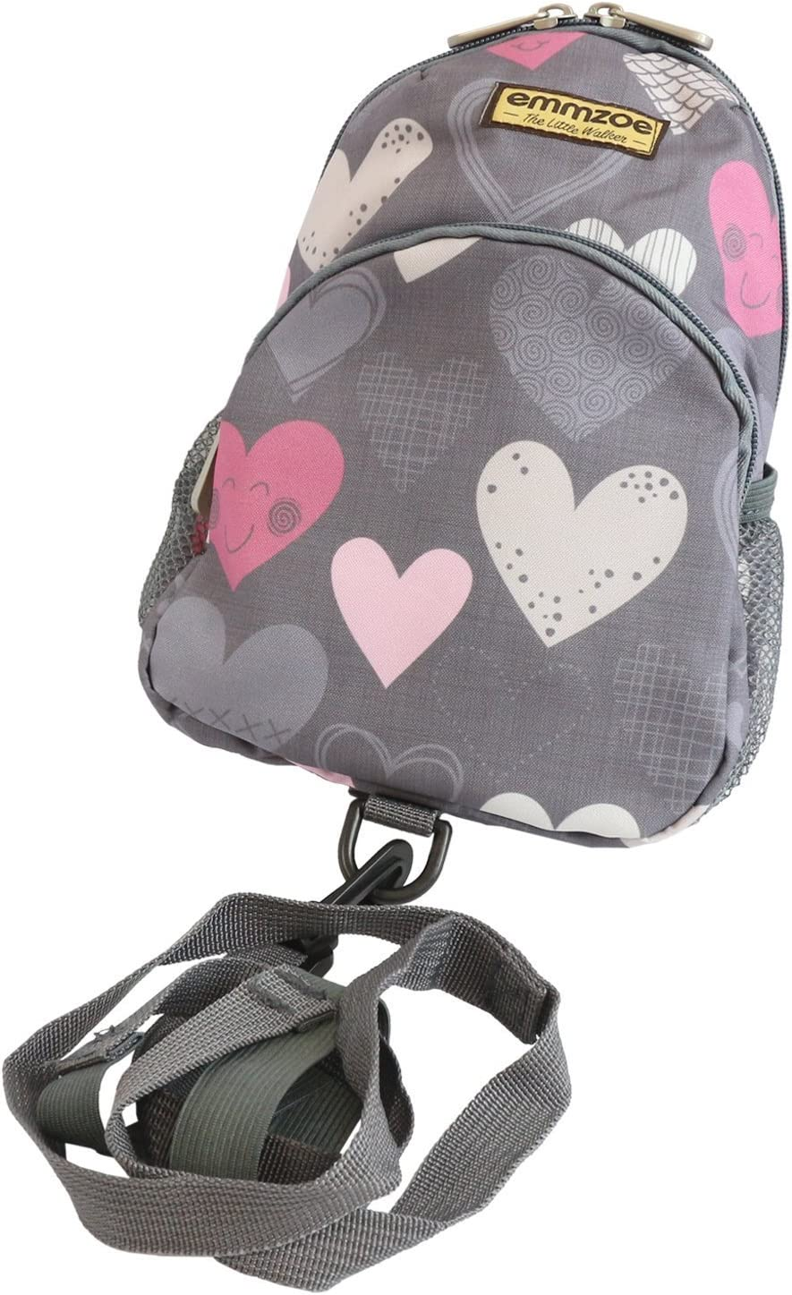 Emmzoe Little Walker Toddler Backpack with Detachable Safety Harness Leash - Lightweight Fits Snacks, Food, Toys (Gray Hearts)
