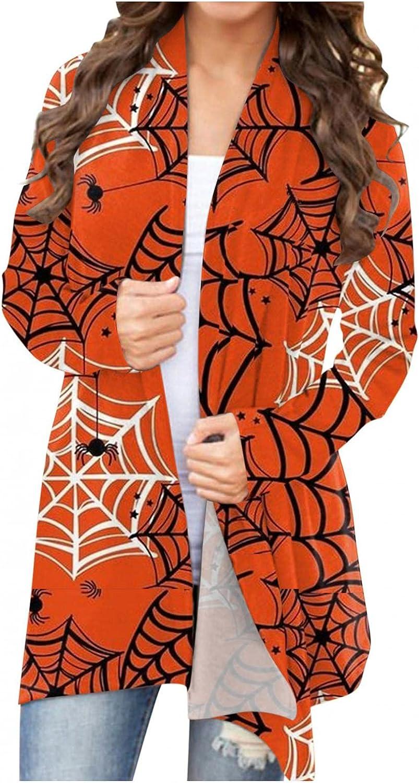 Halloween Cardigan Sweaters for Women,Long Sleeve Open Front Funny Pumpkin Print Lightweight Coat