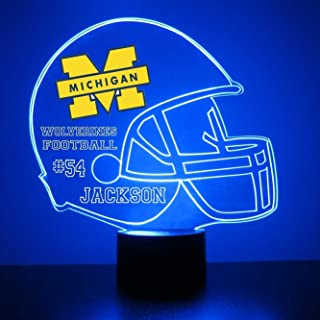 Mirror Magic Michigan Wolverines Light Up LED Lamp - Football Helmet Night Light for Bedroom with Free Personalization - Features Licensed Decal and Remote