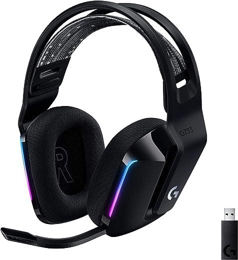 Logitech G733 LIGHTSPEED Wireless Gaming Headset met verende hoofdband, LIGHTSYNC RGB, Blue VO!CE-microfoontechnologie en PRO-G-audiodrivers - Zwart