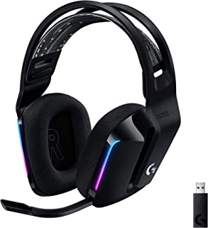 Logitech G733 LIGHTSPEED Wireless Gaming Headset with suspension headband, LIGHTSYNC RGB, Blue VO!CE mic technology and PR...