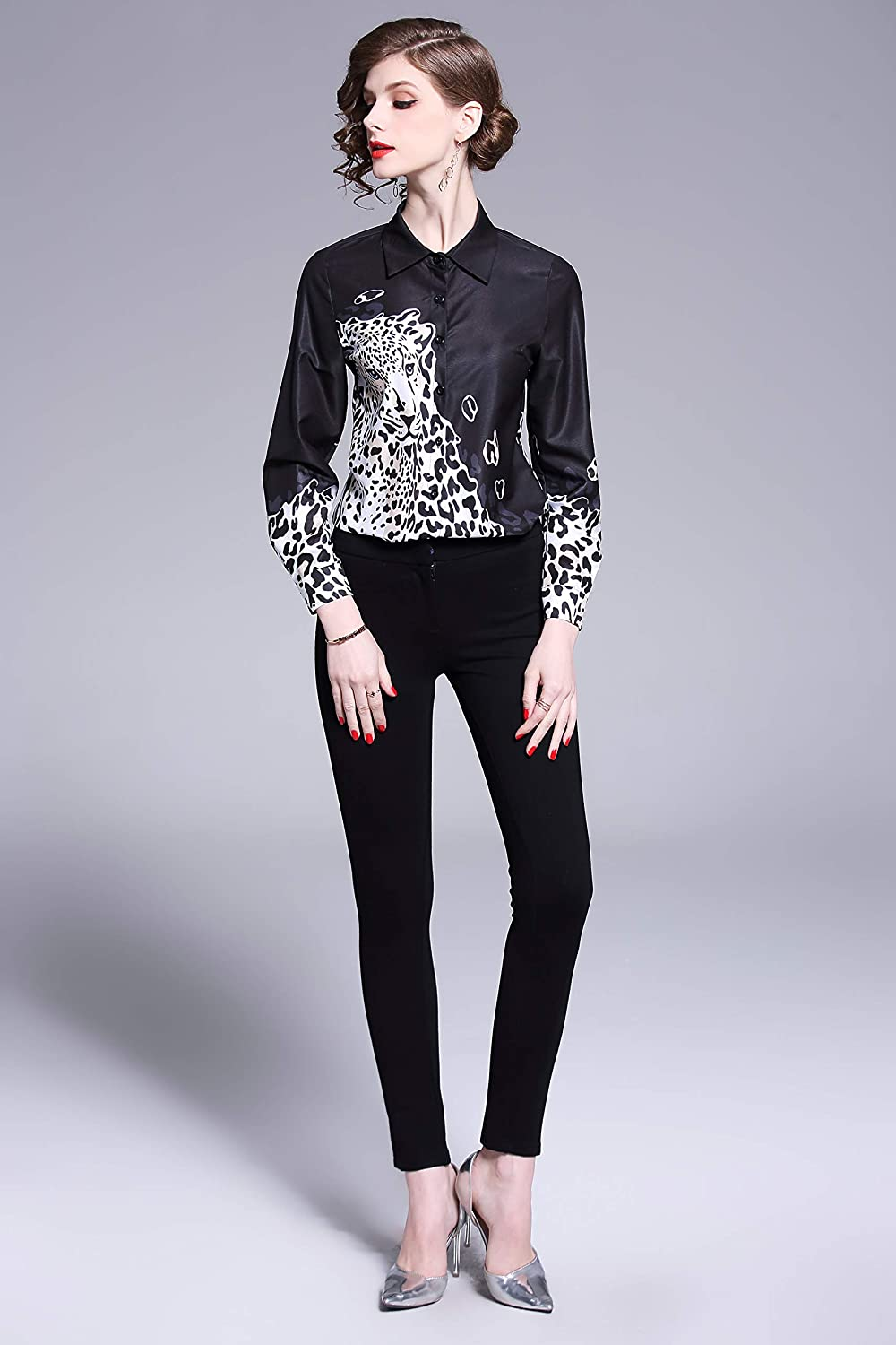 Women's Collared Animal Print Shirt Long Sleeve Button up Casual Blouse Top