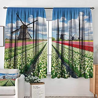 All of better Windmill Window Curtain Fabric Vibrant Blossoming Meadow Farmland Scenic Cloudy Sky The Netherlands Heritage Decor Curtains by 55
