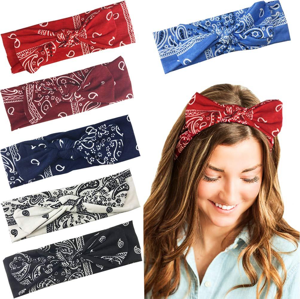 6 Pack Paisley Boho Bow Headbands for Women Girls Bowknot Vintage Paisley Bandana Hairband Cute Floral Elastic Head Wrap Yoga Sport Shower Headbands Hair Accessories for Women Girls