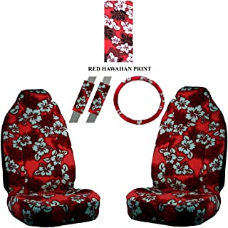 A Set of 5 Pc. Universal-fit Hawaiian Front Bucket Seat Cover, Steering Wheel Cover and Shoulder Harness Pressure Relief Cover - Red Hawaii Hibiscus Floral Print
