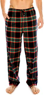 Flannel Lounge Pants for Men - 100% Soft Cotton Plaid Check Lounger Sleeping Pajama Pants with Pockets and Button Fly