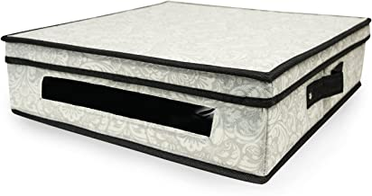 DII Flat Closet Storage Bin for Linens, Clothing, Crafts, Photos, Collectibles, Holiday Décor or Knick Knacks - Damask