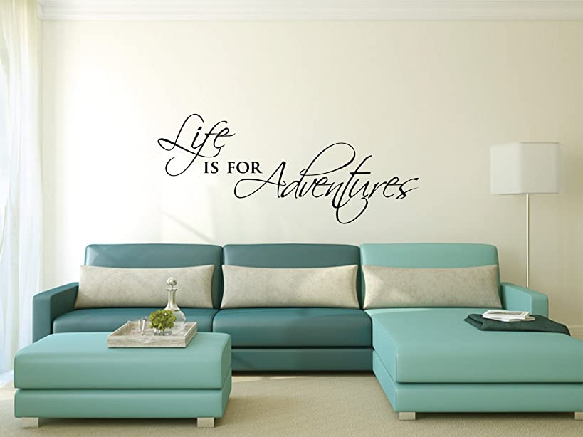 kiskistonite Wall Sticker - Life is for Adventures | Motivational Inspirational Wall Sticker Quote | Wall Sticker Words | Travel Decor Wall Decor Decal 34.w x 14.3h inches, for Bedroom