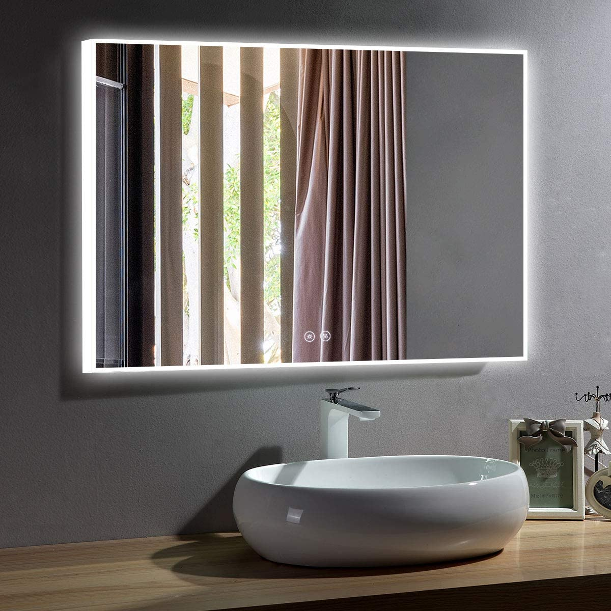 Dimmable ZUI Space 36 x 28 Inch Frameless /& Surrounded Lighted Slim Acrylic LED Bathroom Vanity Mirror with Touch Switch IP44 Waterproof D413-3628 Vertical /& Horizontal Wall-Mounted Defogger