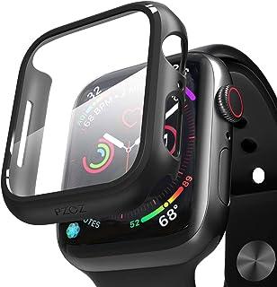 PZOZ Apple Watch Series 6/5/4 44mm ケース PET フィルム 全面保護 耐衝撃 PC アップルウォッチ SE カバー 対応(44mm, ブラック)