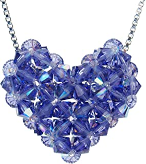 Swarovski Crystal Tanzanite Woven Puffy Heart Necklace with Stainless Steel Chain
