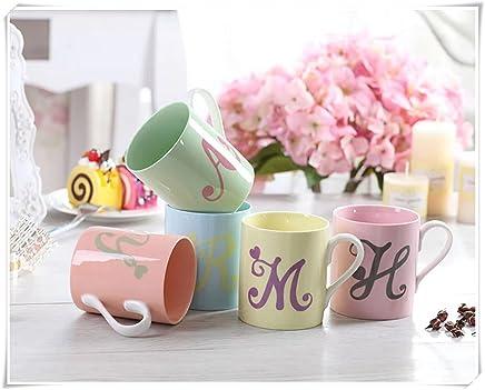 77f461ca3fd Ice Flower Porcelain Mugs, Ceramic Coffee Mug Alphabet Mug Letter Mug  Office Mug 11oz Gift