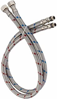 Era 24-Inch Long x 2 Pcs (1 Pair) Faucet Connector Braided Stainless Steel Supply Hose 3/8-Inch Female Compression Thread ...