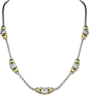 John Medeiros Five Station Clear Cubic-Zirconia Bezel Setting Circle Gold and Silver Tone 17