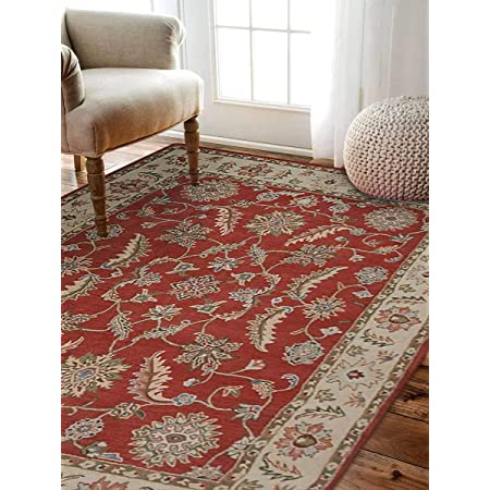 Rugsotic Carpets Hand Tufted Wool 6 X9 Area Rug Oriental Red Beige K00106 Kitchen Dining