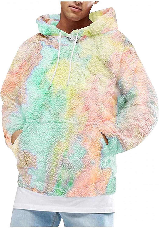 LEIYAN Mens Ultra Soft Fuzzy Fleece Hoodies Long Sleeve Casual Fluffy Winter Warm Outdoor Workout Sweatshirts Pullover
