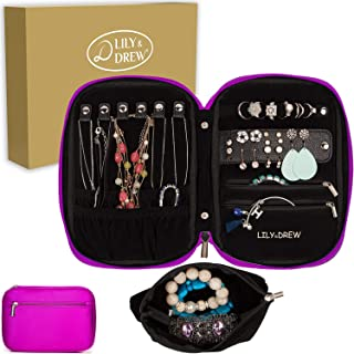 Lily & Drew Travel Jewelry Storage Carrying Case Jewelry Organizer with Removable Pouch, in Gift Box (V1B Magenta)