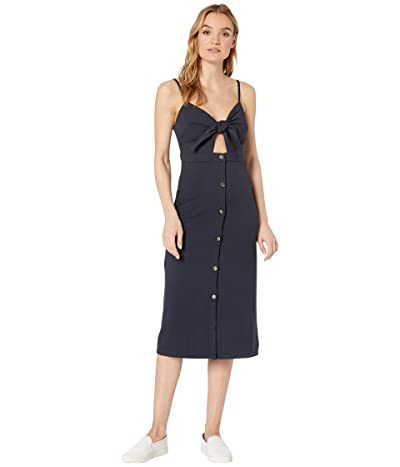 Bishop + Young Front Tie Button Up Dress (Navy) Women