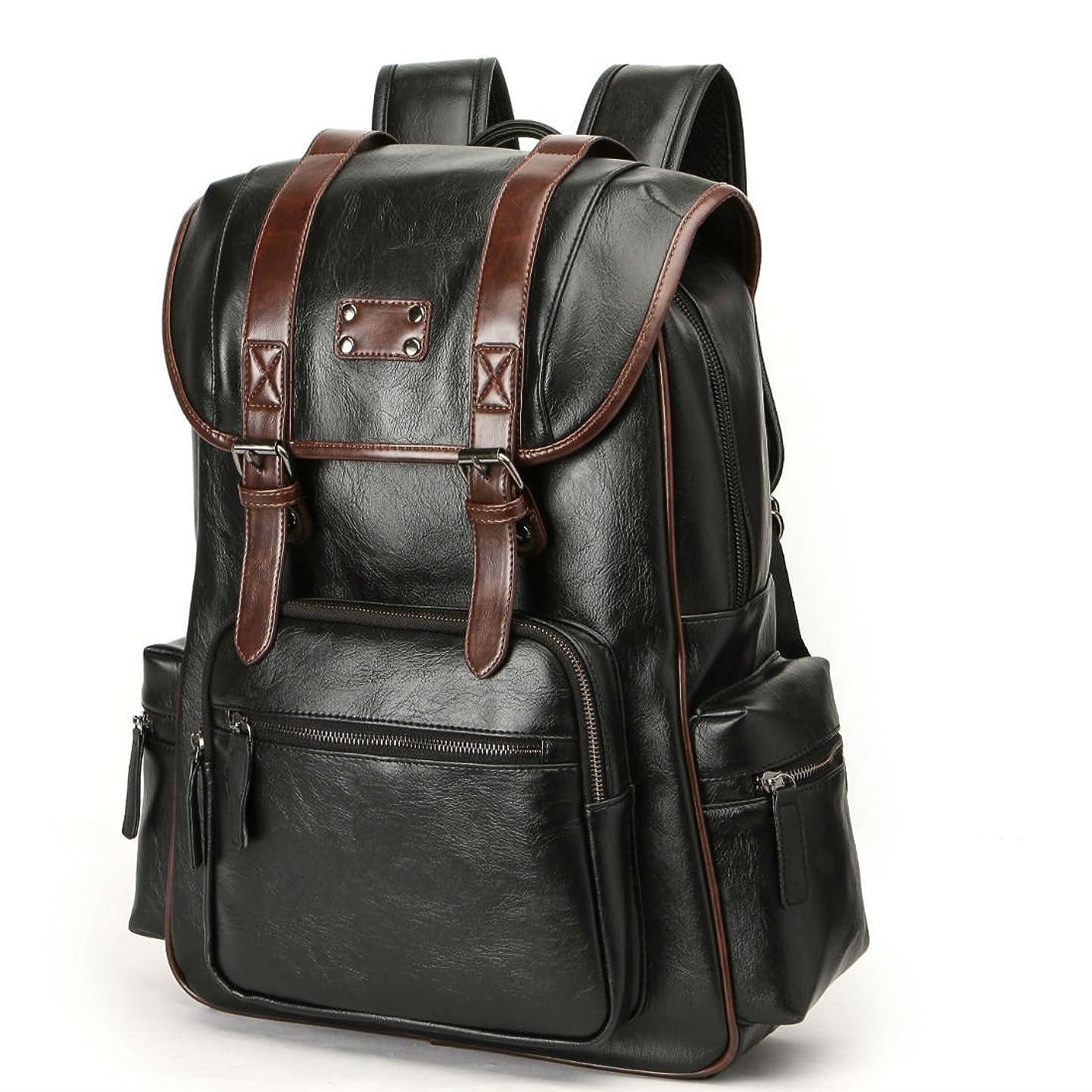 Bag,handbags,shoulder bags Laptop backpack schoolbags travel bags knapsack bookbags Luggage packsack for men,boys,and large capacity pu leather black (black-3) denofkzytpu8